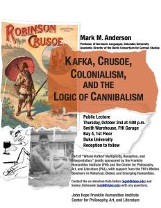 Kafka Crusoe Colonialism