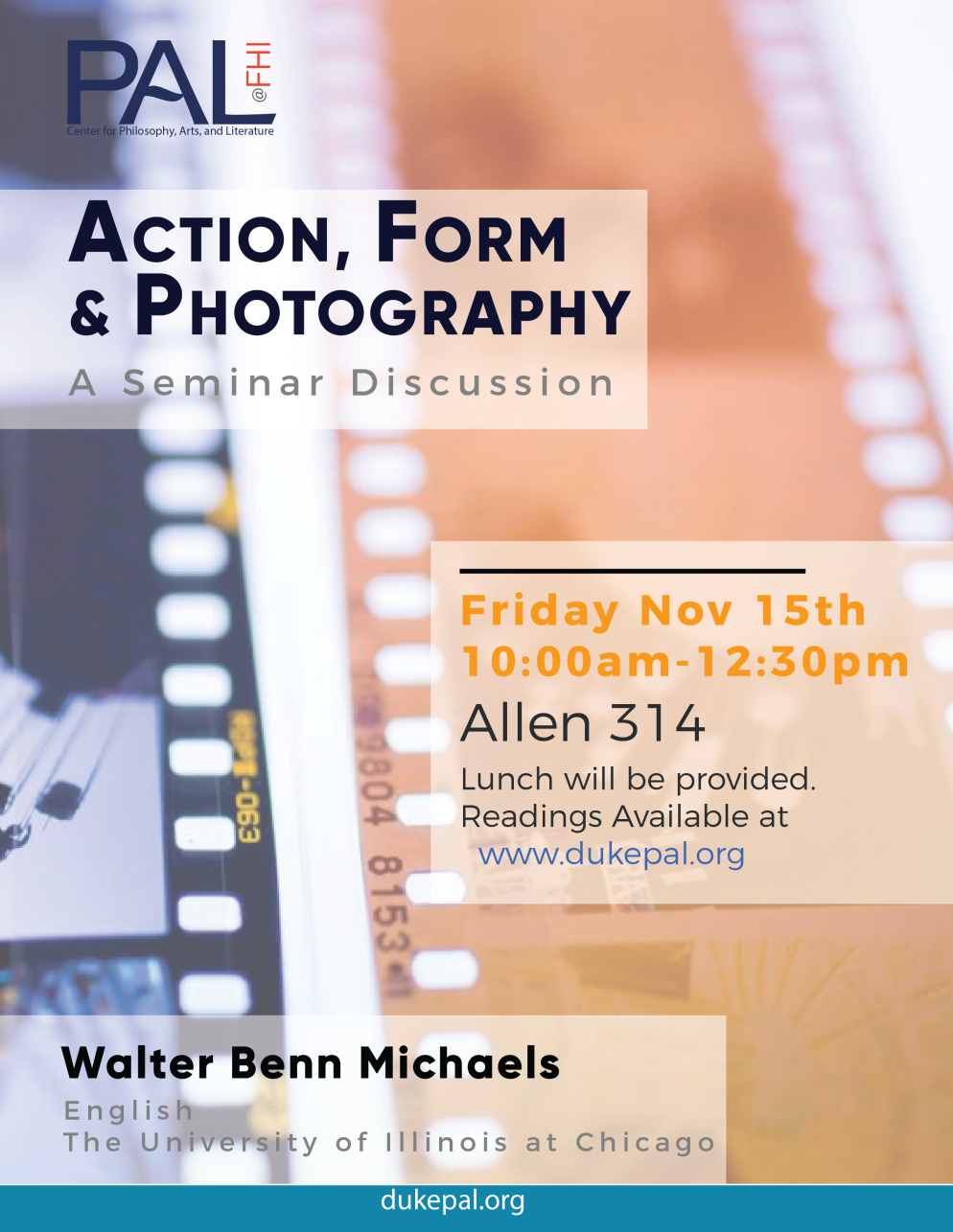 Flyer for PAL Seminar Discussion: Action, Form & Photography