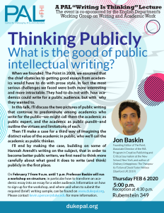 Poster for Thinking Publicly Lecturer and Workshop