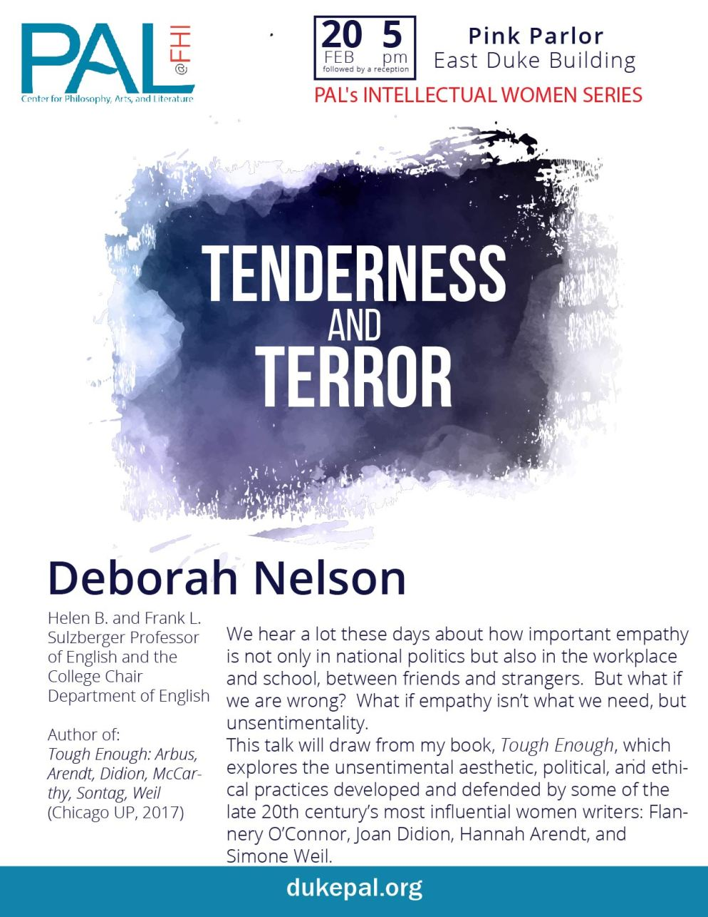 Flyer for Deborah Nelson guest of PAL Intellectual Women's Series